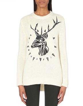 White luxury reindeer jumper
