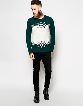 Mens Green Xmas Jumper